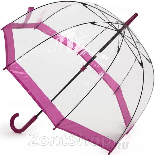 Зонт трость прозрачный Fulton L041 022 Розовый кант