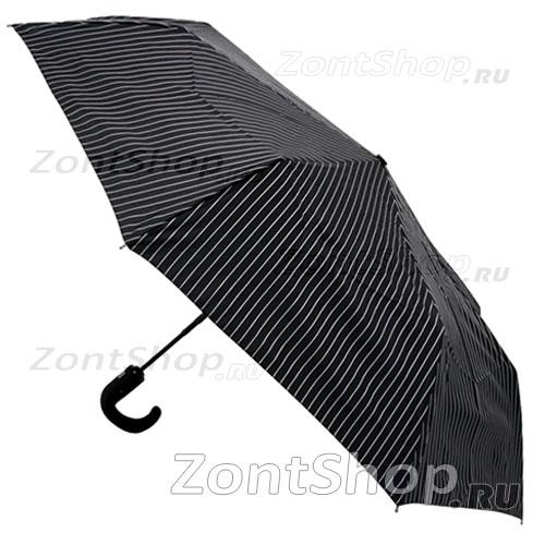 Мужской зонт Fulton Chelsea-2 черный с белыми полосками